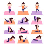 Yoga kids poses. Vector Yoga kids collection. Set of yoga poses for children in flat style. Gymnastics and healthy lifestyle. Vector illustration Stock Photography