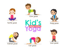 Yoga kids poses vector illustration Stock Photos