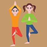 Yoga kids poster. Gymnastics for children and healthy lifestyle. Yoga exercises. Yoga class, yoga center, yoga studio. Flat yoga a Stock Photos