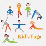 Yoga kids set. Gymnastics for children and healthy lifestyle. Yoga exercises. Yoga class, yoga center, yoga studio. Flat yoga asan Stock Image