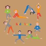 Yoga kids set. Gymnastics for children and healthy lifestyle. Yoga exercises. Yoga class, yoga center, yoga studio. Flat yoga asan Royalty Free Stock Photography