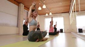 Yoga-Klasse, Gruppe von Personen, die Yoga sich entspannt und tut stock footage