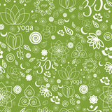 Yoga Labels and Icons seamless pattern. Vector Set Yoga Labels and Icons seamless pattern in green Stock Images