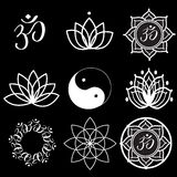 Yoga Labels and Icons. Vector Set Yoga Labels and Icons on black Stock Photo