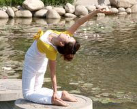 Yoga in beside the lake Stock Images