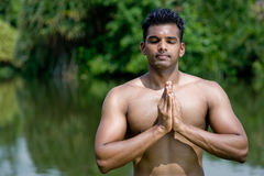 Yoga By Lake Royalty Free Stock Photography