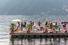 Yoga on the lake Stock Images