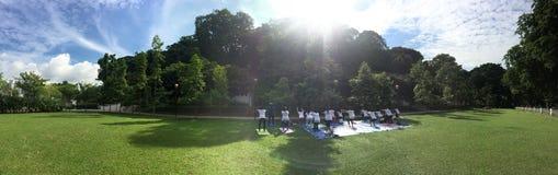 Yoga-Leute am Park lizenzfreie stockfotografie