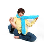 Yoga in levis. Girl stretching her leg out Royalty Free Stock Photos