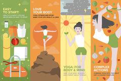 Yoga life for body and mind flat banner set. Flat banner set of health yoga life, practice yoga on physical, mental, emotional, spiritual and energetic level Stock Photography