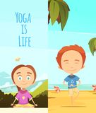 Yoga Is Life Two Vertical Banners Stock Photos