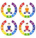Yoga lifestyle circles set with people isolated on white Stock Photo
