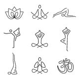 Yoga line art icons. Royalty Free Stock Image
