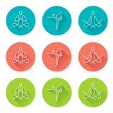 Yoga line art icons with long shadow.. Stock Image