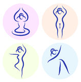 Yoga line silhouette set isolated on white Royalty Free Stock Photos