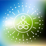 Yoga logo. At abstract blured colorful background Royalty Free Stock Image