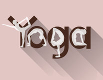 Yoga logo as lettering and poses Royalty Free Stock Photography