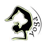 Yoga Logo. Beautiful girl doing scorpion asana Stock Image