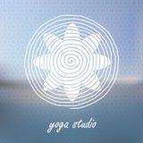 Yoga logo on Blured background. Flower shaped logotype. Vector i Royalty Free Stock Photo