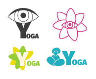 Yoga logo design template with eye, man silhouette and flower, letter Y. Stock Photo