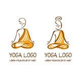 Yoga Logo. Hand Drawn Artwork of Lotus Pose Logo Royalty Free Stock Photos