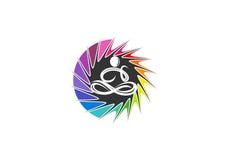 Yoga logo, kopplar av, undertecknar, förnimmelsen, symbolen, känsla, folk, meditationen, livsstilen, wellnessen och begreppsdesig Arkivbild