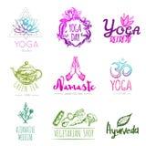 Yoga Logo Set di schizzo Immagine Stock Libera da Diritti