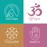 Yoga logo set. Floral and nature harmony, zen health vector symbols Stock Photos
