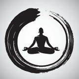 Yoga Logo Template con Enso Zen Circle Brush Immagini Stock