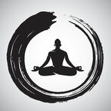 Yoga Logo Template met Enso Zen Circle Brush Stock Afbeeldingen