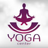 Yoga logo, vector icon, emblem for yoga center. Figure of a man sitting in a lotus pose, vector silhouette. Meditation. Relaxation human with a font on a Stock Image