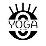 Yoga logo, vector icon, emblem for yoga center. Stylized image of the eye isolated on white background Stock Photography
