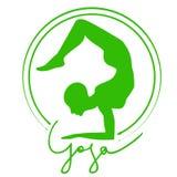 Yoga Logo. Woman doing yoga asana scorpion Stock Image