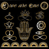 Yoga logo, yoga icons, mystic spiritual symbols, gold lines tattoo setf. Yoga logo, yoga icons, mystic spiritual symbols, gold lines tattoo set: Buddha hand Stock Photo