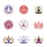Yoga_Logos. Vector yoga icons and line badges, graphic design elements or logo templates for spa center or yoga studio Stock Photography