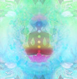 YOGA Lotoshaltung Padmasana mit farbigen chakra Punkten Lizenzfreies Stockfoto