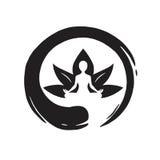 Yoga Lotus con Zen Circle Logo Template Vector Fotografie Stock