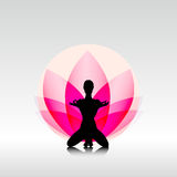 Yoga-lotus. Female silhouette on the lotus background Stock Photo