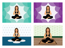 Yoga lotus girl Stock Photos