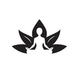 Yoga Lotus Icon Black och vit teckning royaltyfri illustrationer