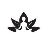Yoga Lotus Icon Black y dibujo blanco Foto de archivo libre de regalías