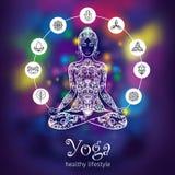 Yoga lotus meditating woman color banner Royalty Free Stock Photo