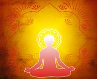 Yoga-Lotus Meditation. Lotus position on red background. Additional format available Royalty Free Stock Image