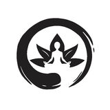 Yoga Lotus met Zen Circle Logo Template Vector Stock Foto's