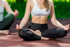 yoga, lotus pose close-up body parts stock photo