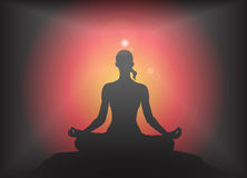 Yoga Lotus Pose Glare Background Royalty Free Stock Photos