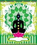 Yoga lotus pose. Padmasana with chakra points. Royalty Free Stock Photo