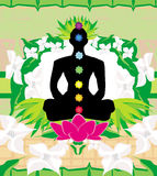 Yoga lotus pose. Padmasana with chakra points. Stock Images