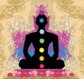 Yoga lotus pose. Padmasana with chakra points. Stock Images
