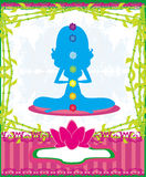 Yoga lotus pose. Padmasana with colored chakra points. Stock Images